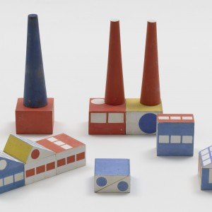 Ladislav Sutnar. Prototype for Build the Town Building Blocks. 1940–43. Painted wood, large block: 1 3/4 x 2 3/4 x 2 3/4″ (4.4 x 7 x 7 cm). The Museum of Modern Art, New York. Gift of Ctislav Sutnar and Radoslav Sutnar