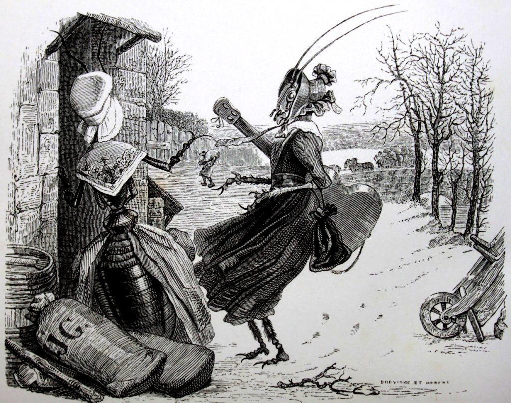 Grandville---Fables-de-La-Fontaine---La-cigale-et-la-fourmi