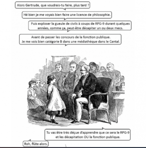 Sur un blog contestataire, un détournement ironique d'une gravure du XIXe siècle.